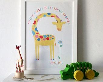 Personalised bespoke Giraffe art print