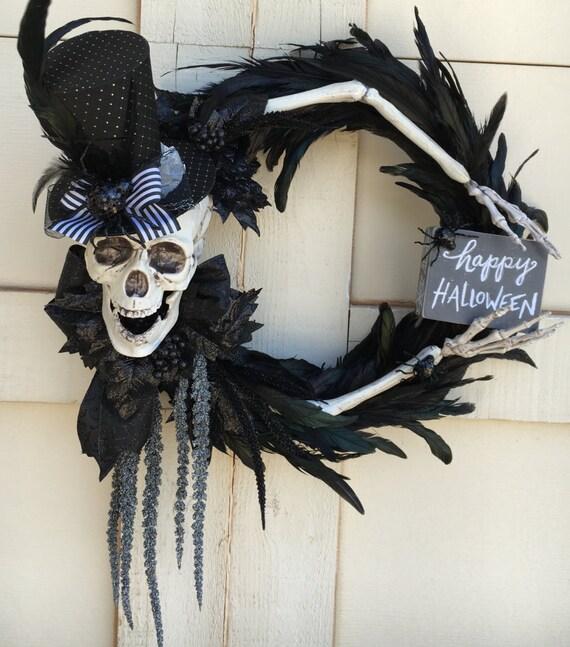 Halloween Wreath Skull Wreath Feather Wreath Halloween