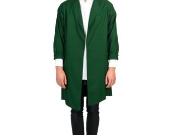 Minimalist Coat / Autumn Coat / Autumn Cardigan / Unique Green Coat / Green Wool Coat / Men's Outerwear / Wool Coat / Men's Coat / Long Coat
