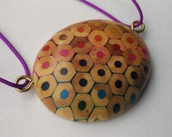 Colouring Pencil Pebble Pendant Necklace