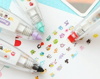 Sticker Tape Applicator - Decoration Correction Tape, Cats, Puppy, Owls, Monster, Alphabet Letters