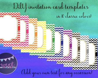 10 DIY blank card templates - personal and commercial use - no license required! (chevrons, classic colors) - T001
