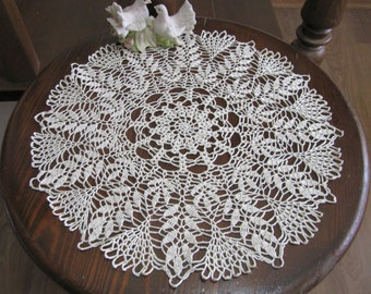 Beige Decor Crochet Lace Doily, Table Decor, Home Accessory, 18 inches diameter, Wedding presents