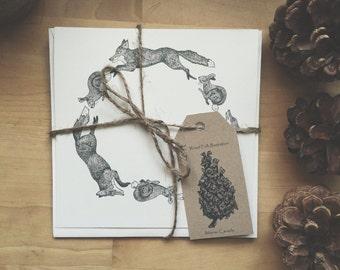 Handmade Fox & Hare Cards / Pack of 4