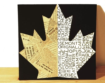 Poster | The Double-sided sheet | Illustration maple leaf | Original and artisanal decoration