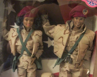 Barbie and Ken Army in Camo, by Mattel 1991, NRFB, African American