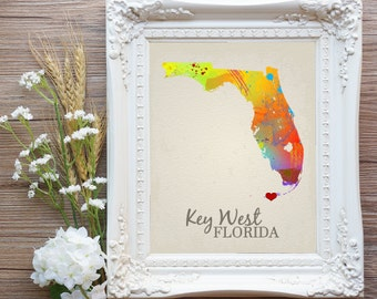 Key West Wedding, Key West Map, Key West Art, Key West Prints, Key West Decor, Key West Sign, Key West Bachelorette Gift, Key West Florida