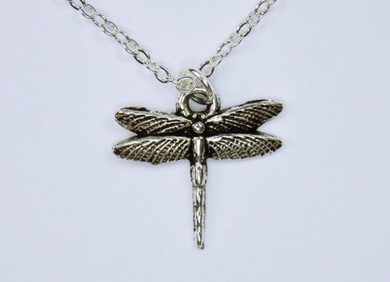 Necklace Dragonfly Pendant on silver chain-bubble jewelry natural jewelry animal Insect