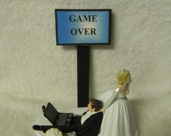 Wedding Reception Ceremony Party Laptop Computer Nerd Geek Game Over Cake Topper