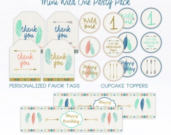 Wild One Birthday, Wild One Party Pack, First Birthday, Tribal, Favor Tags, Water Bottle Labels, Cupcake Toppers, Arrows, Boho, Party Pack