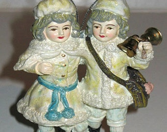Victorian Christmas Ornament Glitter TWINS Hand Painted NIB Shackman We ship worldwide