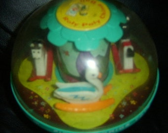 Vintage 1960's FISHER PRICE Chime Ball with Swans and Rocking Horses