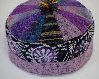Purple batik Bodhi hat #102, available in size M