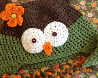 Owl hat, Crochet owl hat, toddler owl hat, girl owl hat, baby photo prop