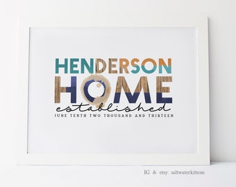 Personalized Family Name Sign - Home Established Sign - Custom Family Name - Housewarming Gift - New Home Gift - Wedding Gift - Wall Art
