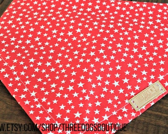 "Dog Bandana ""Red and White STARS"" Free Shipping! Snap options & personalization options"