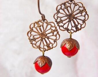 Red Coral Earrings Red Swarovski Pearl Earrings Vintage Style Earrings Brass Filigree Earrings Red Coral Pearl Dangle Earrings Gift for her