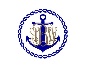 Rope Monogram Decal, Anchor Monogram Decal, Nautical Monogram Decal, Rope Monogram Sticker, Anchor Monogram Sticker