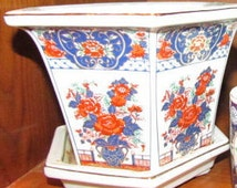 Oriental Asian Chinese Japanese Flower Pot Porcelain Planter Pottery with Base Gardening