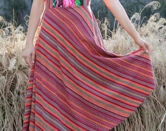 vintage ethnic guatemalan sun dress floral embroidery small medium large