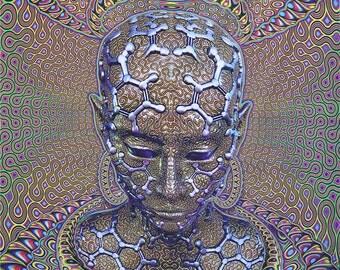 Trippy wall hanging,  Psychedelic tapestry, 'Micro Macro'. Digital print, trippy wall art, Visionary Art print, fractal geometric meditation