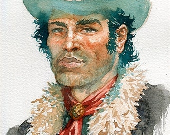 Wild West Portrait, Lieutenant Blueberry Watercolour Portrait, Cowboy Portrait (print)