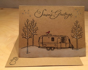 Airstream holiday cards, handmade travel trailer stamp.