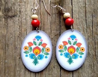 Polish folk earrings, flower earrings, polish earrings, polish cutout, boho, folk jewelry, blue earrings, white oval