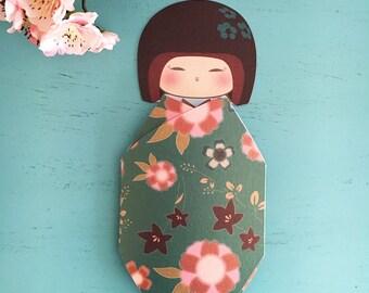 Geisha Greeting Card Green