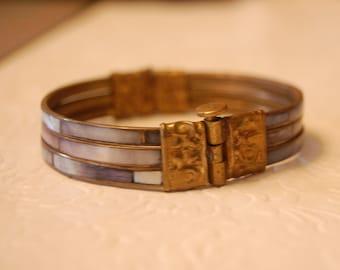Brass and Abalone Bracelet