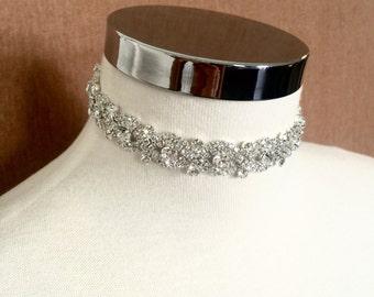 Choker Jewelry, Silver Crystal Choker, Silver Rhinestone Necklace