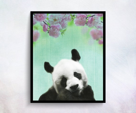 Panda wall art panda print baby room decor baby by for Panda bear decor