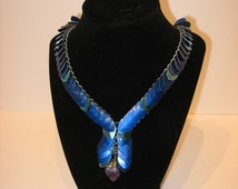 Blue Scale and Amethyst Necklace