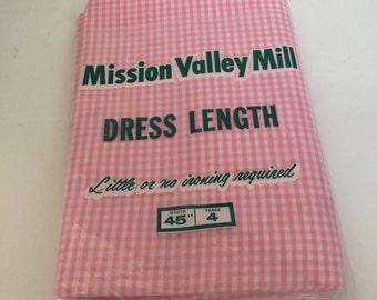 Vintage Pink gingham yardage, 4 yards. Free shipping