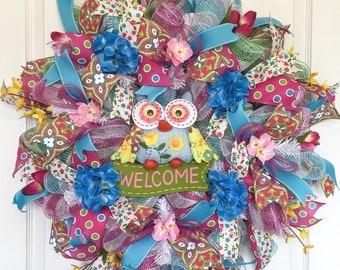 Spring Wreath for front door-Welcome Owl-Spring Flowers-Spring Wreath Hydrangea-Spring Wreathes-Summer Wreath-Front Door Wreath-Door Wreath