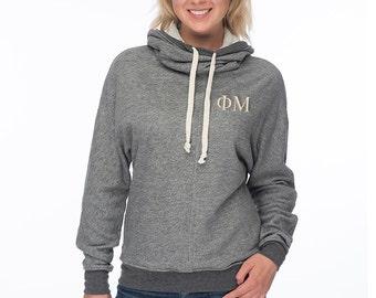 Phi Mu Cowl Neck Sweatshirt, Phi Mu French Terry Hooded Sweatshirt, Embroidered Phi Mu Sweatshirt, Phi Mu sweats, Greek Gear and Apparel
