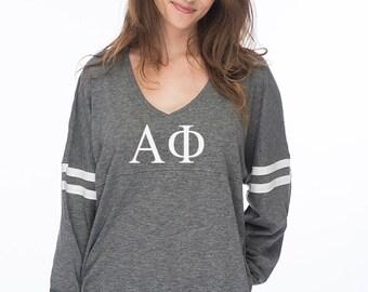 Alpha Phi Varsity Slub Long Sleeve Tee, A Phi long sleeve t-shirt, Alpha Phi Tshirt, Sorority Apparel, Greek Gear, APhi Greek Letters Shirts