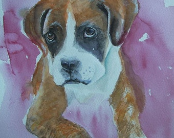 Boxer puppy watercolour painting