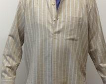 Barleysugar retro-style striped men's flannel grandad shirt