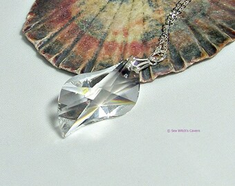 Clear Crystal Drop Necklace |Swarovski Crystal Pendant | Swarovski Pendant Necklace | Prism necklace | Necklace gift ideas | Swing | A0347