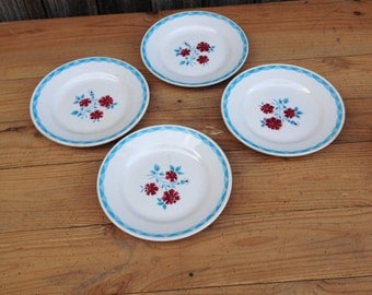 4 french vintage plates in fine earthenware to serve dessert blue white red