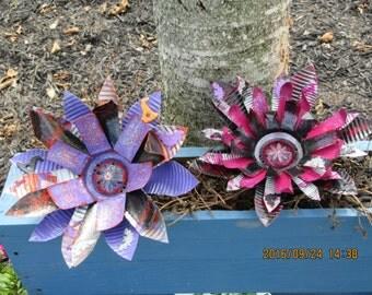 Recycled Metal Flower/ Garden Art/ Halloween