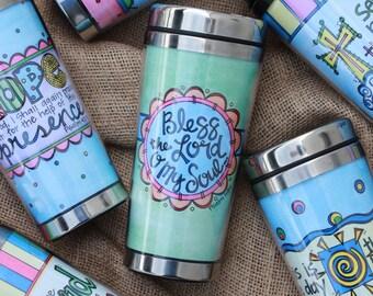 Cute Travel Coffee Mug, Cary Collins Stainless Steel Travel Tumbler, Cute Travel Mug, Bible Verse Coffee Mug