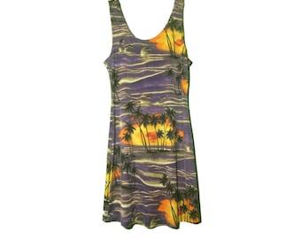 Vintage 90's Mini Dress / Hawaiian Print Dress / Tropical Seapunk Dress / Graphic Print Dress / Purple Bodycon Kawaii / Pastel Grunge Small