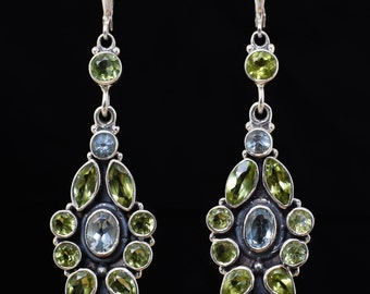 Peridot earrings,Victorian earrings,Handmade earrings,Sterling Silver earrings,Blue Topaz earrings,Leverback earrings