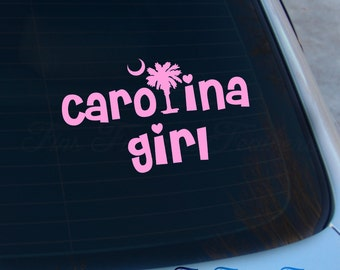 Carolina Girl Decal - Carolina Sticker - South Carolina - SC - Charleston - Carolina - Girl - Palmetto Tree - Macbook - Car Decal