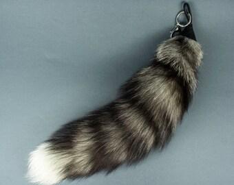 Silver Fox Tail Keychain Real fox tail Bag Charm Fur Keyring.