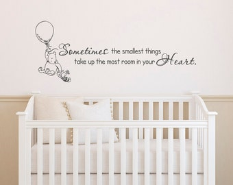 Classic Winnie The Pooh Wall Decals Quotes Sometimes The Smallest Things, Winnie The Pooh And Piglet Wall Decals Nursery Kids Room Decor 029