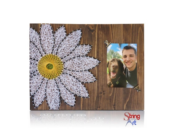 Daisy string art kit string art picture frame daisy for Picture frame crafts for adults