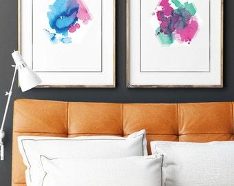 Hexagonal Watercolor Print A3 - A1